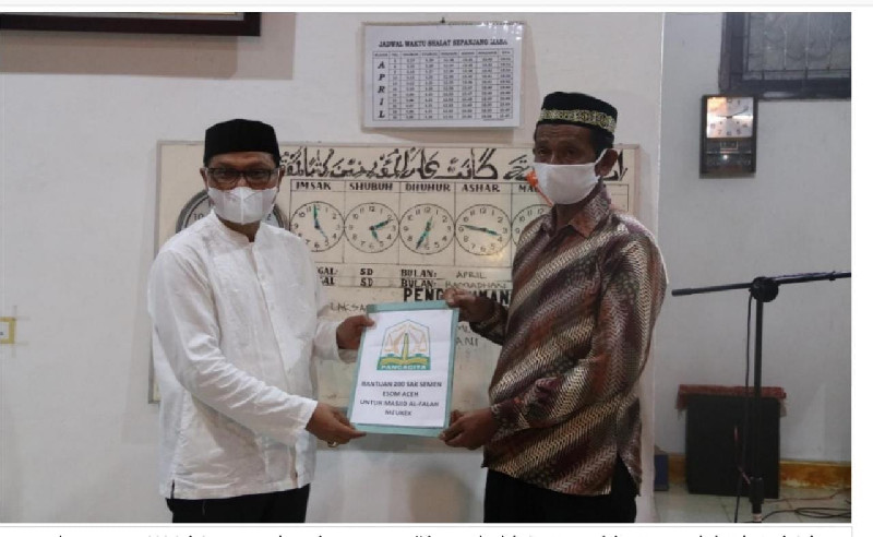 Safari Ramadhan, Dinas ESDM Aceh Bantu Pembangunan Mesjid Al Falah Meukek Aceh Selatan