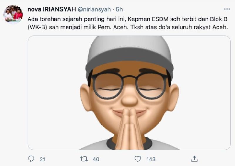 Gubernur Nova: Blok B Sah Jadi Milik Pemerintah Aceh