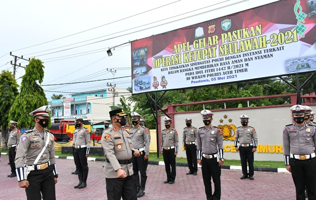 Kapolres Aceh Timur Pimpin Apel Gelar Pasukan Operasi Ketupat Seulawah 2021