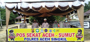 Cegah Mudik, Polres Aceh Singkil Tutup Akses Jalan Aceh-Sumut