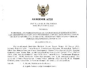 Kendalikan Covid-19, Gubernur Aceh Tetapkan PPKM Mikro Hingga Akhir Mei 2021