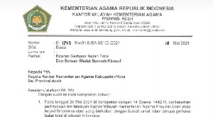 26 Mei Gerhana Bulan Total,Kemenag Aceh Serukan Shalat Sunnah Khusuf