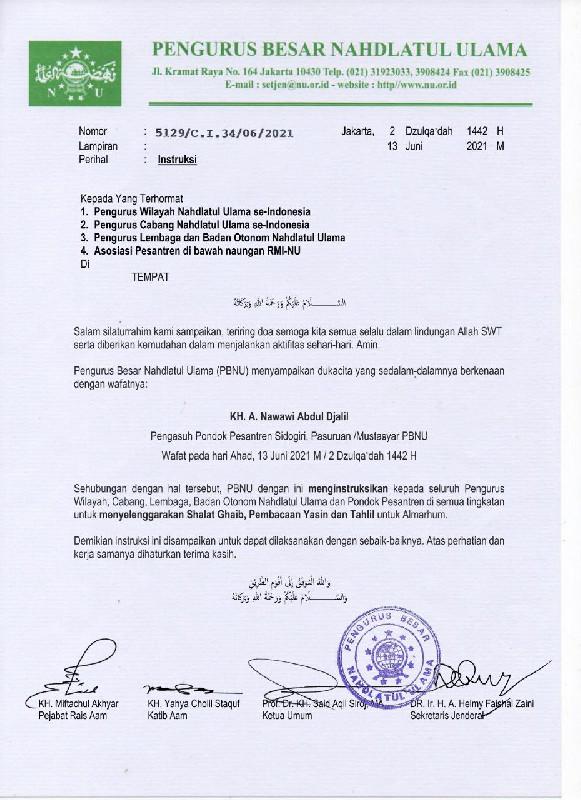PBNU Intruksikan Sholat Ghaib Untuk Alm. KH. Nawawi Abdul Jalil