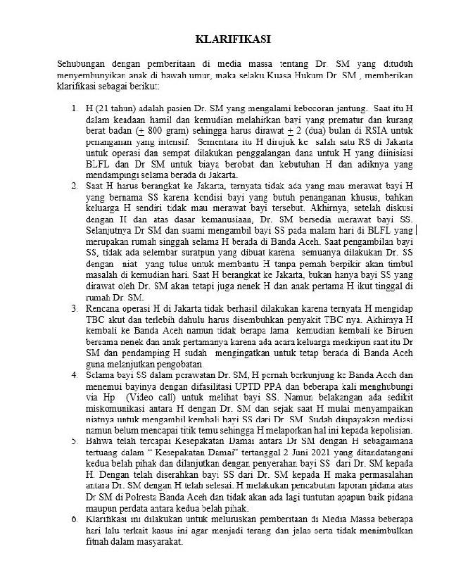 Kasus Pelaporan H kepada Dokter RSUZA Telah Selesai, Berikut Klarifikasi Dari Pengacara Dokter