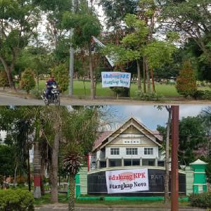 Spanduk Bertuliskan Tagar Dukung KPK Tangkap Nova Bertebaran di Aceh Tamiang