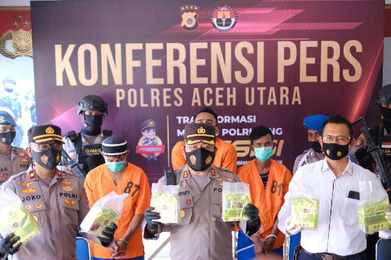 Polres Aceh Utara Gagalkan Penyeludupan Sabu Senilah Rp 7 Miliar