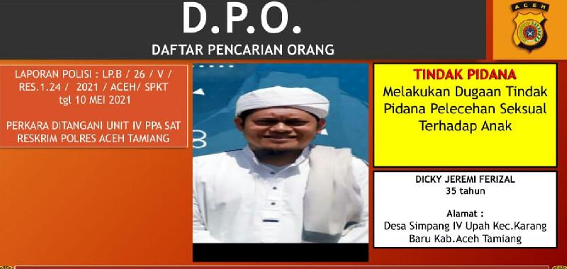 Oknum Guru Dayah Pencabul Santri jadi DPO Polres Aceh Tamiang