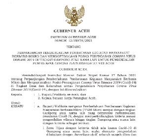 PPKM Mikro Berlaku di Aceh Dimulai Dari Tanggal 6 Juli 2021