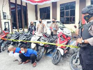 Dua Tersangka Curanmor Ditangkap, 9 Unit  Kenderaan Diamankan Di Mapolres Aceh Tengah
