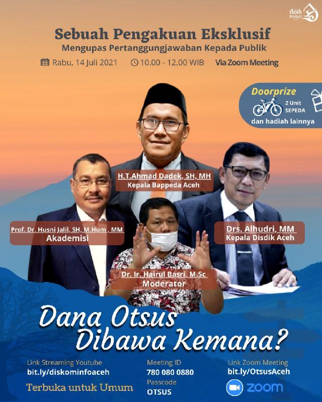 Kemana Saja Dana Otsus, Berikut Penjelasan Bappeda dan Disdik Aceh