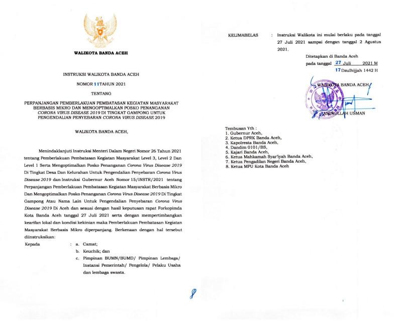 Walikota Banda Aceh Tindaklanjuti Intruksi Mendagri Terkait Perpanjang PPKM