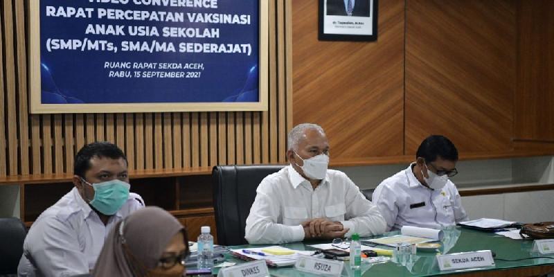 Sekda Aceh Pimpin Rakor Percepatan Vaksinasi Covid-19 bagi Siswa Sekolah