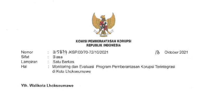 Berantas Korupsi, KPK Bakal Monitoring Kota Lhokseumawe