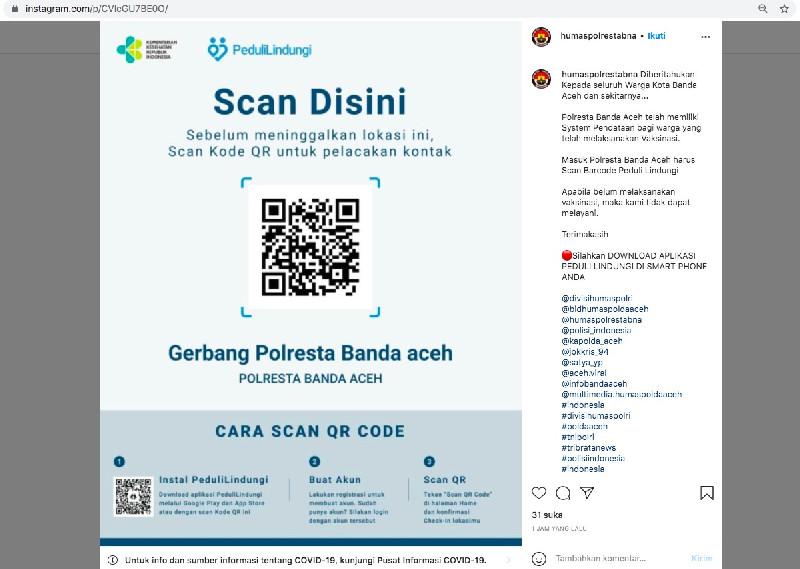 Butuh Pelayanan di Polresta Banda Aceh, Jangan Lupa Siapkan Aplikasi PeduliLindungi